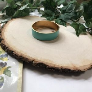 J.Crew Mint Green and Gold Enamel Bangle Bracelet